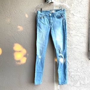 Abercrombie: Light Wash Distressed Skinny Jeans